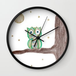 Owl Fun #5 #mint #green #gold #drawing #decor #art #society6 Wall Clock