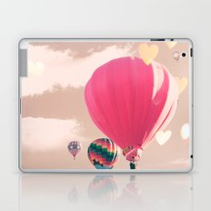 Hot air balloon and heart bokeh on pale pink Laptop & iPad Skin