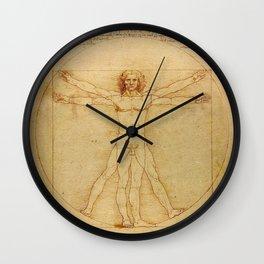 The Vitruvian Man 1405 (L Uomo Vitruviano) Leonardo da Vinci Artwork for Prints Posters Tshirts Men Wall Clock