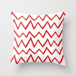 Hand-Drawn Zig Zag (Red & White Pattern) Throw Pillow