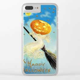 Happy Halloween Pumpkin Witch Clear iPhone Case