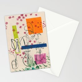 Japanese canteen -line drawing leaves #7 Stationery Cards