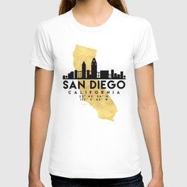 SAN DIEGO CALIFORNIA SILHOUETTE SKYLINE MAP ART T-shirt