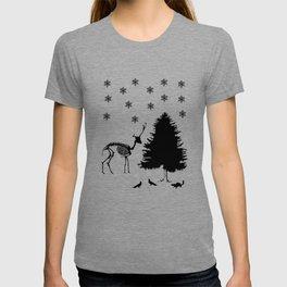 Deer Tree Snow Pigeons Chipmunk T-shirt