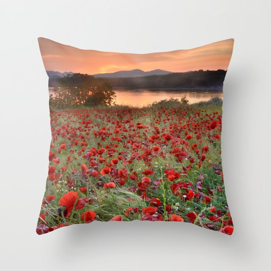 Poppies at the lake at sunset Throw Pillow