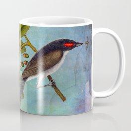 Eastern Kingbird and Sassafrass, Antique Natural History Art Collage Coffee Mug