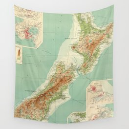 Vintage Map of New Zealand (1922) Wall Tapestry