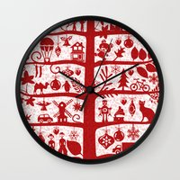 blankets Wall Clocks featuring CHRISTMAS TREE red ITINERANT by Chicca Besso