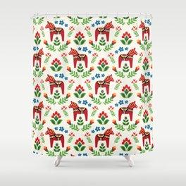 Swedish Dala Horses Red Shower Curtain