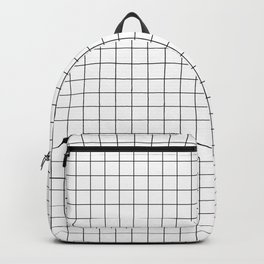 Black and White Thin Grid Graph Backpack
