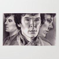 sherlock Area & Throw Rugs featuring Sherlock by KatePowellArt