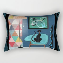 Creature Comforts Mid-Century Interior With Black Cat Rectangular Pillow
