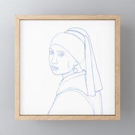 Girl with Pearl Earring - Line Art Framed Mini Art Print