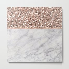 Epicurious rose gold marble Metal Print