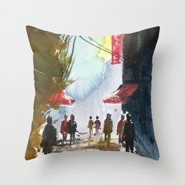 Walk through the street Throw Pillow
