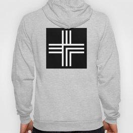Geometric Swiss Cross (white with black background) Hoody
