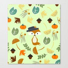 Cute fox in autumn Canvas Print