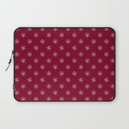 White on Burgundy Red Snowflakes Laptop Sleeve