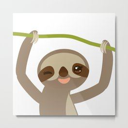funny and cute smiling Three-toed sloth on green branch 2 Metal Print