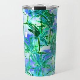 Palm Tree Blue Green Travel Mug