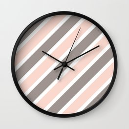 Light Pink & Grey Stripes Wall Clock