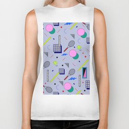Seamless colorful pattern in retro style on grey background with tennis ball and tennis racket Biker Tank