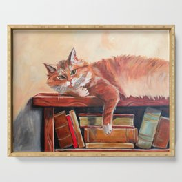 Red cat on a bookshelf Serving Tray