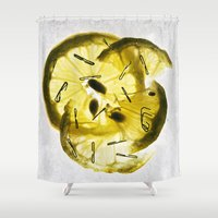 lemon Shower Curtains featuring Lemon by Sil Elorduy