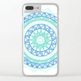 Shades of Blue Mandala Clear iPhone Case