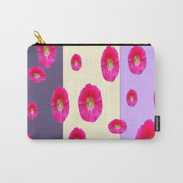 PINK-CERISE ASSORTED FLOATING HOLLYHOCK FLOWERS Carry-All Pouch
