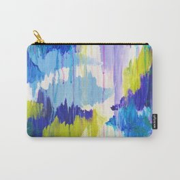 WINTER DREAMING - Jewel Tone Colorful Eggplant Plum Periwinkle Purple Chevron Ikat Abstract Painting Carry-All Pouch