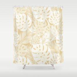 Tropical Shadows - Beige / White Shower Curtain