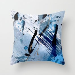 Breathe [2]: colorful abstract in black, blue, purple, gold and white Throw Pillow