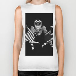 7329-KMS Reaching Hands Zebra Woman Fingers Spread Zombie Mummy Biker Tank