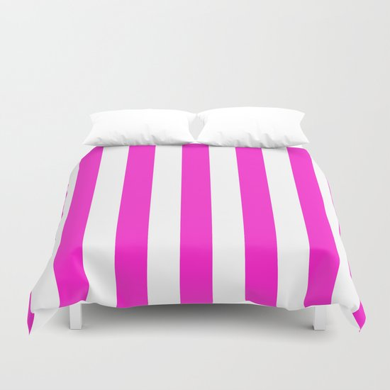 Vertical Stripes (Hot Magenta/White) Duvet Cover