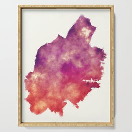 Jersey New Jersey city watercolor map in front of a white background Serving Tray