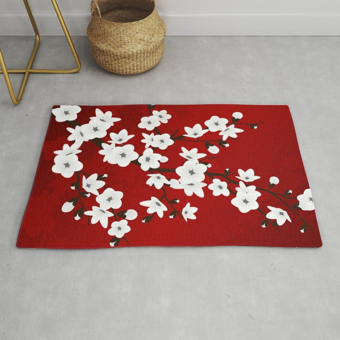 Red Black And White Cherry Blossoms Rug