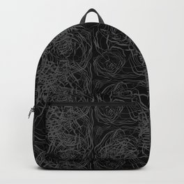 Abstract Botanical Pattern on Black Backpack