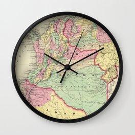 Vintage Map of Venezuela, Ecuador, Colombia (1855) Wall Clock