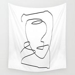 Abstract head, Minimalist Line Art Wall Tapestry