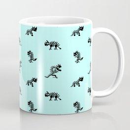 Cartoon Dinosaur Skeleton Pattern Black and Blue Coffee Mug