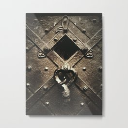 door on prague castle with snake door-knock Metal Print