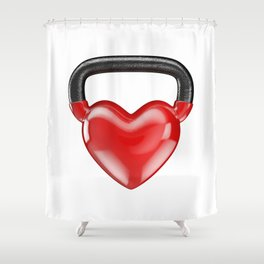 Kettlebell heart vinyl / 3D render of heavy heart shaped kettlebell Shower Curtain
