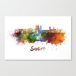 Sucre skyline in watercolor Canvas Print