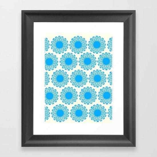 Vintage Flower_Turquoise Framed Art Print