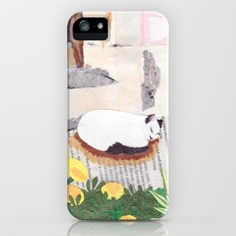 Cat, Colorful, Flowers, Paper Collage iPhone Case