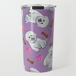 Bichon Frise Love Pattern on Lavender Travel Mug