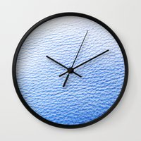 leather Wall Clocks featuring Blue Leather by The Wellington Boot