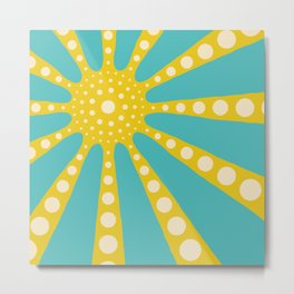 Abstract sunburst in mustard yellow, turquoise, off-white Metal Print