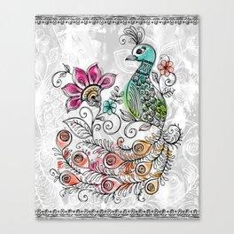Peacock Doodle Canvas Print